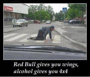 Ano, redbull sice dává křídla, alkohol ale 4x4