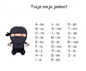Jaké máš ninja jméno