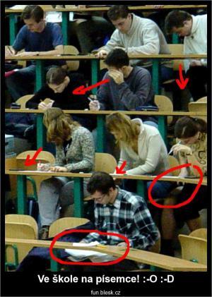 Ve škole na písemce