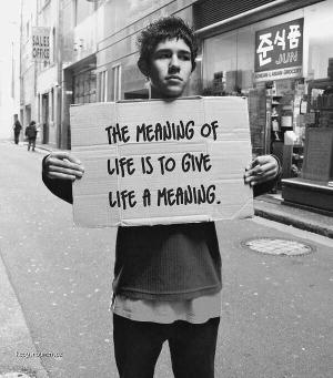X The meaning of life is to give life a meaning