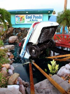 X Police Car Crashes Into Water