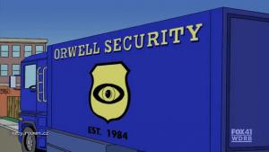 Orwell Security from The Simpsons S21 E20