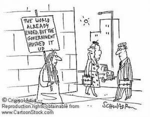 conspiracy theory cartoon man on street