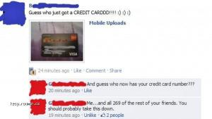 Girl Posts Picture of Credit Card on Facebook