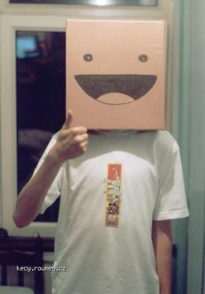 Cardboard box boy  head