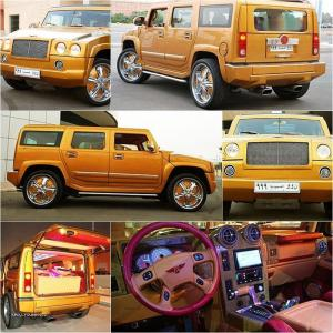 Hummer modified with gold