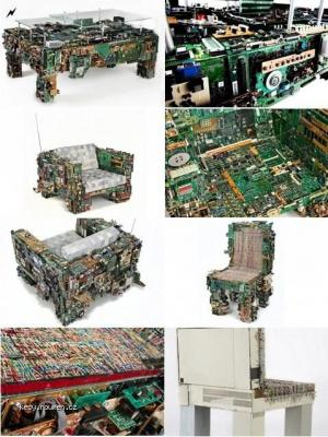 Designer Makes Furniture from Discarded Electronics