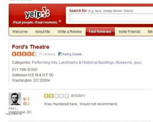 Lincoln Gives Ford 27s Theater Review on Yelp