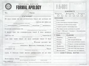 formal apology