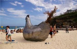 Giant Metal Chicken on the Beach