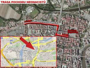 trasa pochodu neonacistu plzni podle TNcz