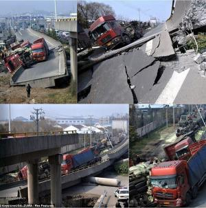 Automobile Overpass Collapse in China