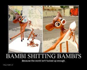 Bambi shitting