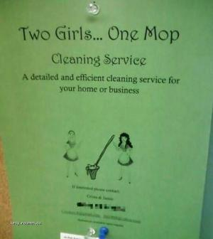 Two girls  one mop