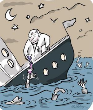 Titanik se potápí, ale obsluha je vždy na místě