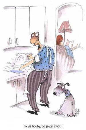 Manžel jako otrok si povídá se psem