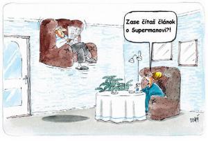 Článek v novinách o supermanovi
