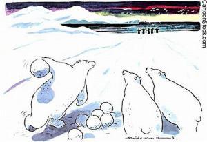 Lední medvědi hrají bowling