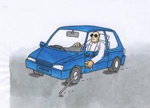 Když slepec řídí auto