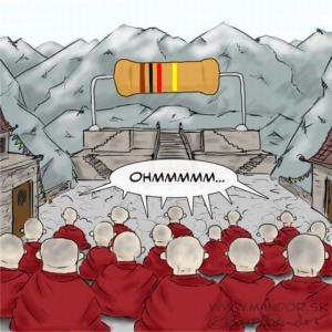 Mnichové se modlí k odporu