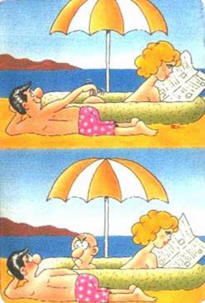 Žena, která se opaluje na pláži