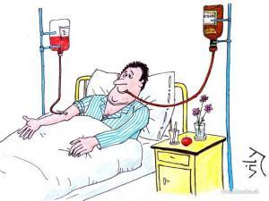 Nemocný pacient v nemocnici