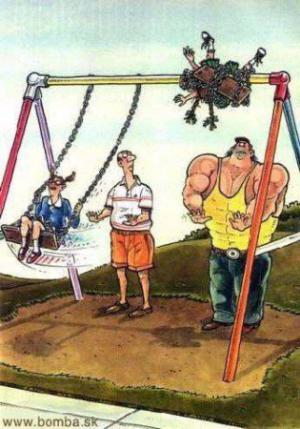 Když jde fitnessák na dětské hřiště