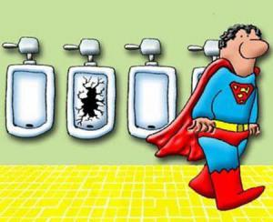 Jak to dopadá když jde ze záchodu superman?