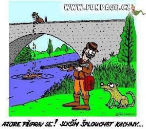 Myslivec se psem na lovu