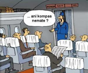 Když se letuška ptá cestujících na kompas
