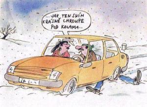 Když jedeš autem po sněhu