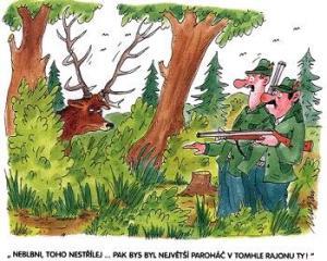 Dva myslivci nahání jelena