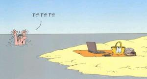 Ajťák na pláži se topí