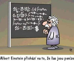 Albert Einstein přichází na to, že čas jsou..