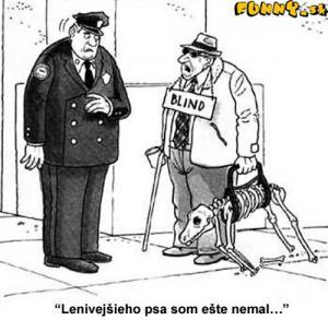 Slepý muž s pomocným mrtvým psem
