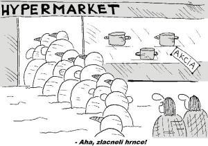 Když je hypermarketu akce