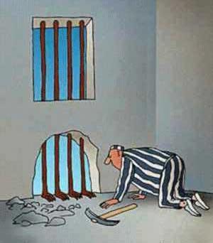 Když se snaží vězeň utéct z vězení