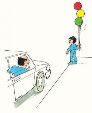 Pán, který si jede pro balónky