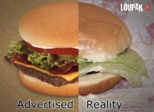 Očekávání hamburgeru vs. realita