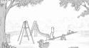 Tatínek s dětmi na hřišti [animace]