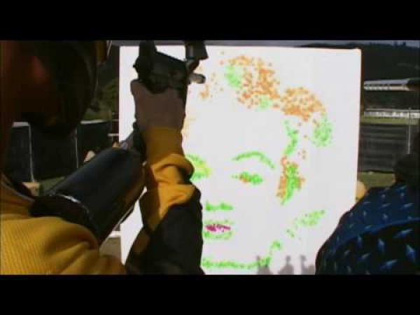 Paintball umění - portrét ženy
