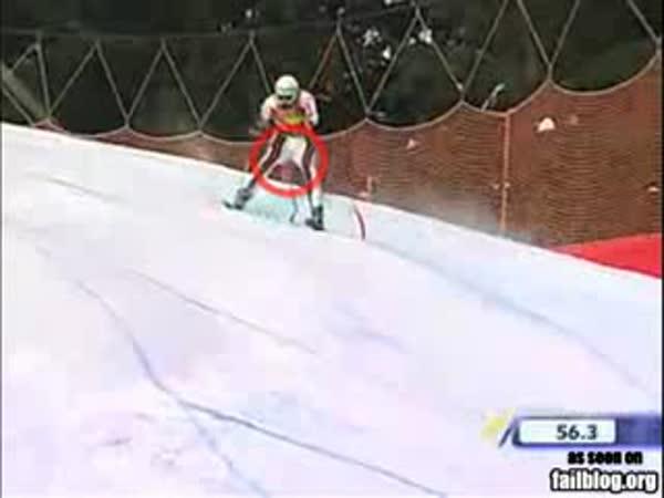 Lyžování - Slalom - Kuriozní nehoda