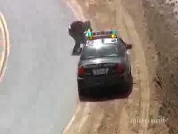 Nehoda - Motorkář se lekl Policie
