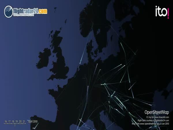 Omezený letecký provoz nad Evropou [animace]