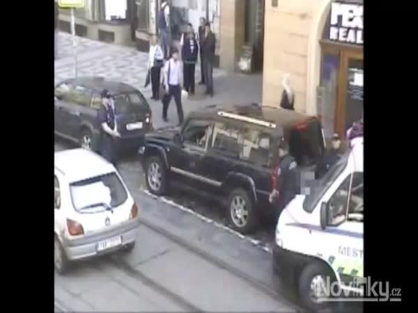 Arogantní řidič najížděl do strážnice