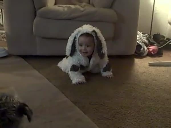 Pes a dítě v županu