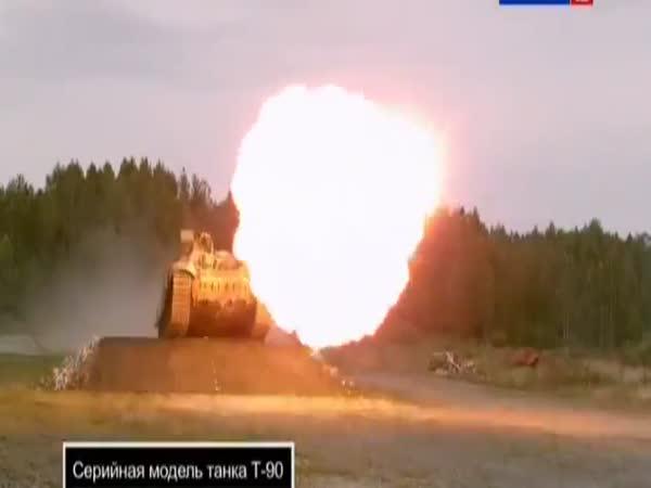 Skok s tankem T-90