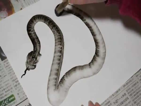 Borec - Namalování hada štětcem