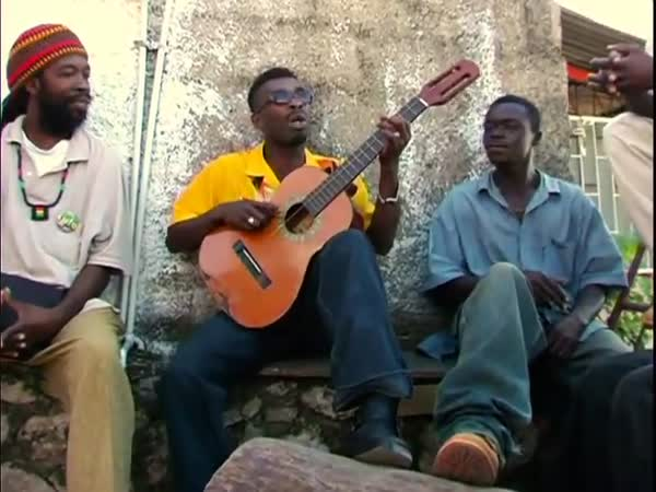 Jamajčan s kytarou s jednou strunou