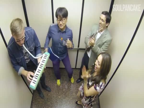 Muzikanti ve výtahu